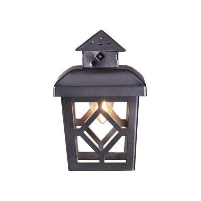 8-Light 11 ft. 11 in. String Light with Black Lantern and Clear Bulb