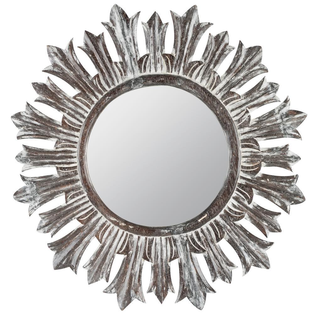 Trenton White and Black White Wash Decorative Mirror