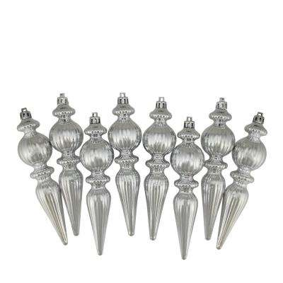 6.5 in. Silver Splendor Shatterproof Shiny Ribbed Christmas Finial Ornaments (8-Count)