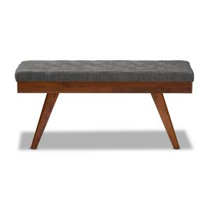 Remarkable Baxton Studio Alona Dark Gray And Oak Fabric Dining Bench Uwap Interior Chair Design Uwaporg