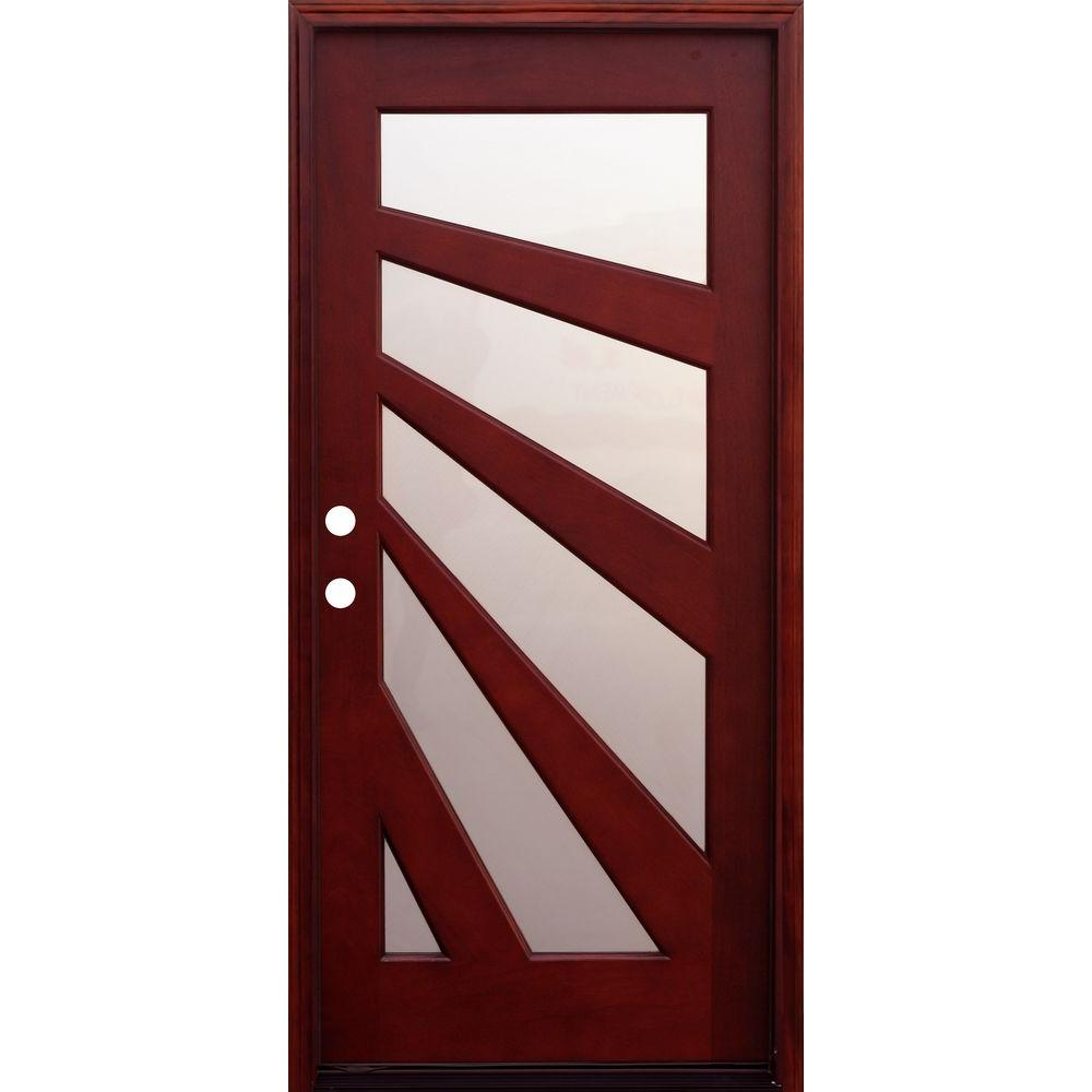 Modern Red Front Door: Pacific Entries 36 In. X 80 In. Contemporary 5 Lite Fan
