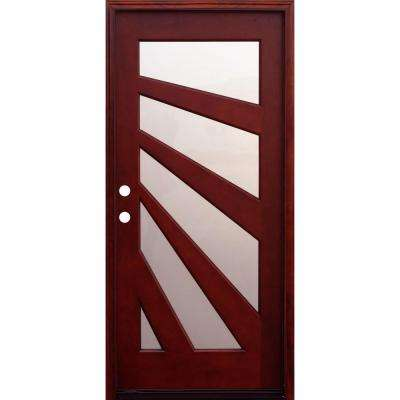 Contemporary 5 Lite Fan Entry Stained Mahogany Wood Prehung Front Door with 6 in. Wall Series