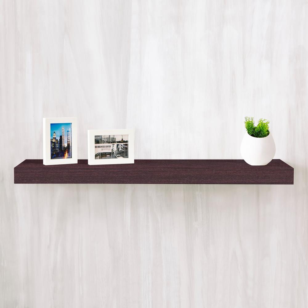 Positano 36 in. x 2 in. zBoard Paperboard Wall Shelf Decorative Floating Shelf in Espresso