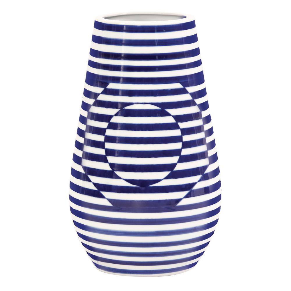 Large Optical Illusion Blue And White Striped Ceramic Decorative Vase