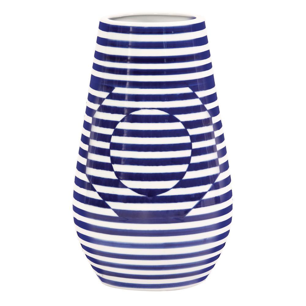 Large Optical Illusion Blue and White Striped Ceramic Decorative Vase