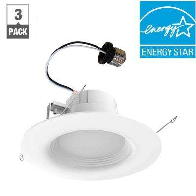 65-Watt Equivalent Softwhite 6 in. White Integrated LED Recessed Trim (3-Pack)