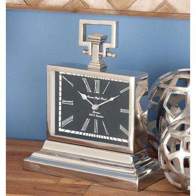13 in. x 11 in. Stainless Steel and Nickel Round Table Clock