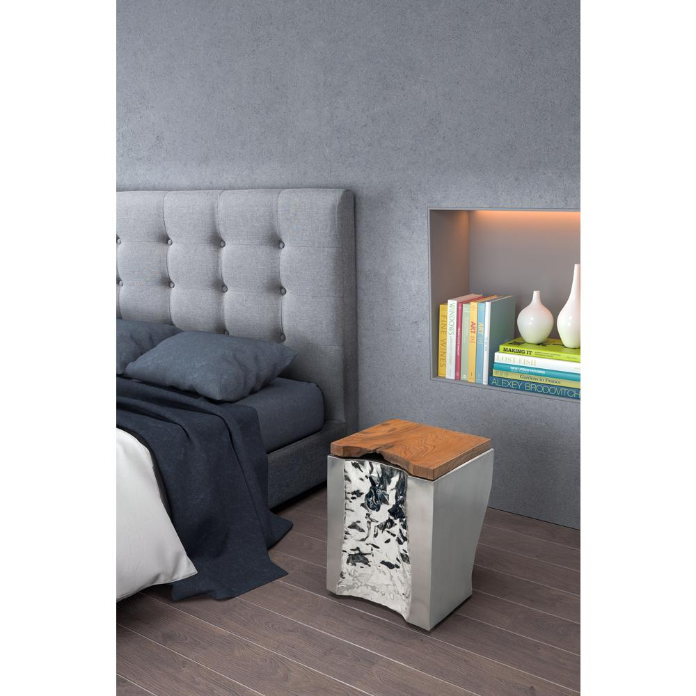 ZUO Luxe Natural And Stainless Steel Side Table