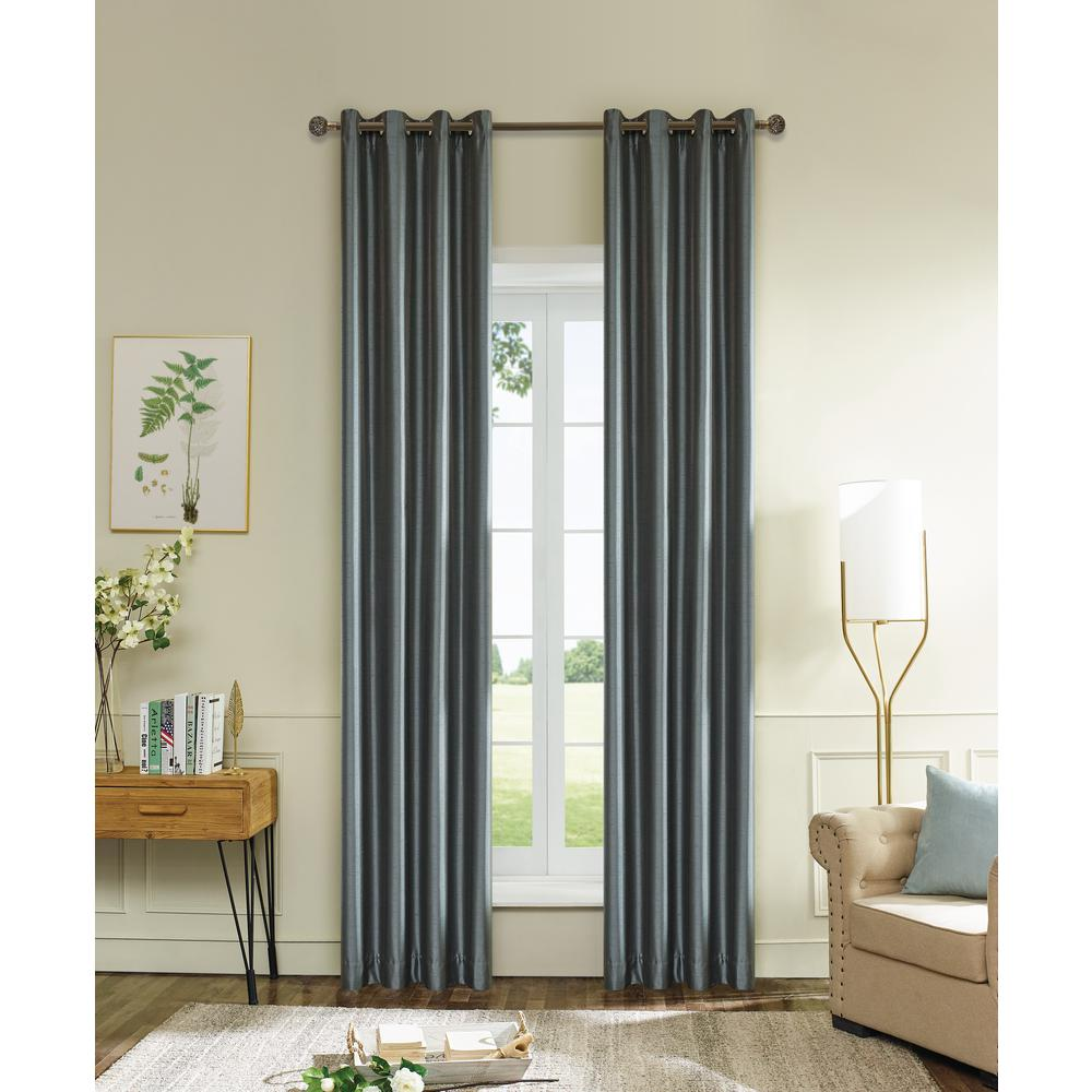 Lyndale Decor Aberdeen 54 in. L x 45 in. W Max Blackout Thermal Coating Polyester Curtain in Silver Grey