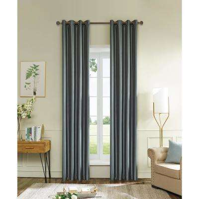 Aberdeen 54 in. L x 45 in. W Max Blackout Thermal Coating Polyester Curtain in Silver Grey