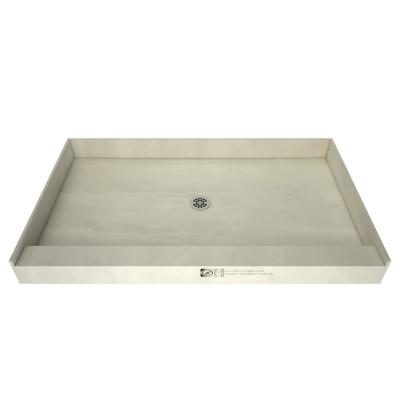 Redi Base 48 in. x 60 in. Single Threshold Shower Base with Center Drain and Polished Chrome Drain Plate