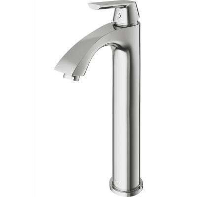 Linus Single Hole Single-Handle Vessel Bathroom Faucet in Brushed Nickel