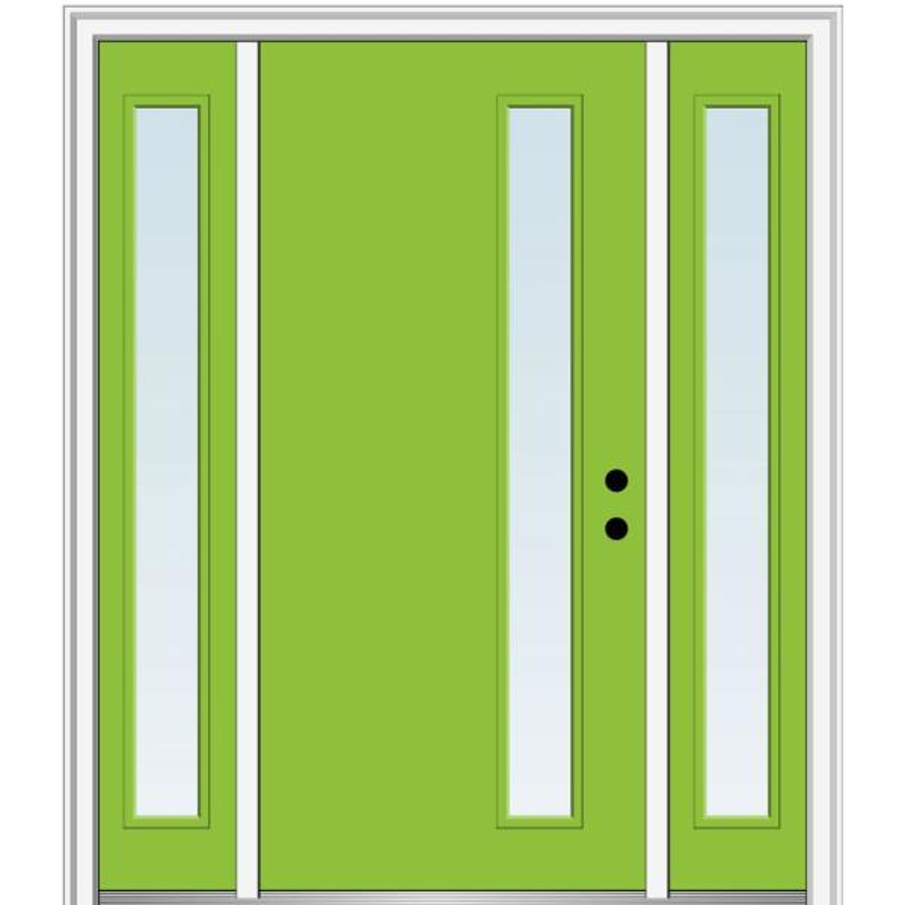 Mmi Door 68 5 In X 81 75 In Viola Left Hand Inswing 1 Lite Clear Low E Painted Fiberglass Prehung Front Door With Sidelites Z0348427l The Home Depot