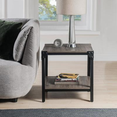 Oak Rustic Farmhouse Square Wood and Metal End Table