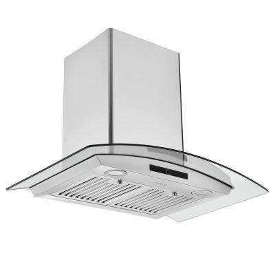 30 in. 600 CFM Convertible Wall Mounted Glass Canopy Range Hood with LED Lights in Stainless Steel