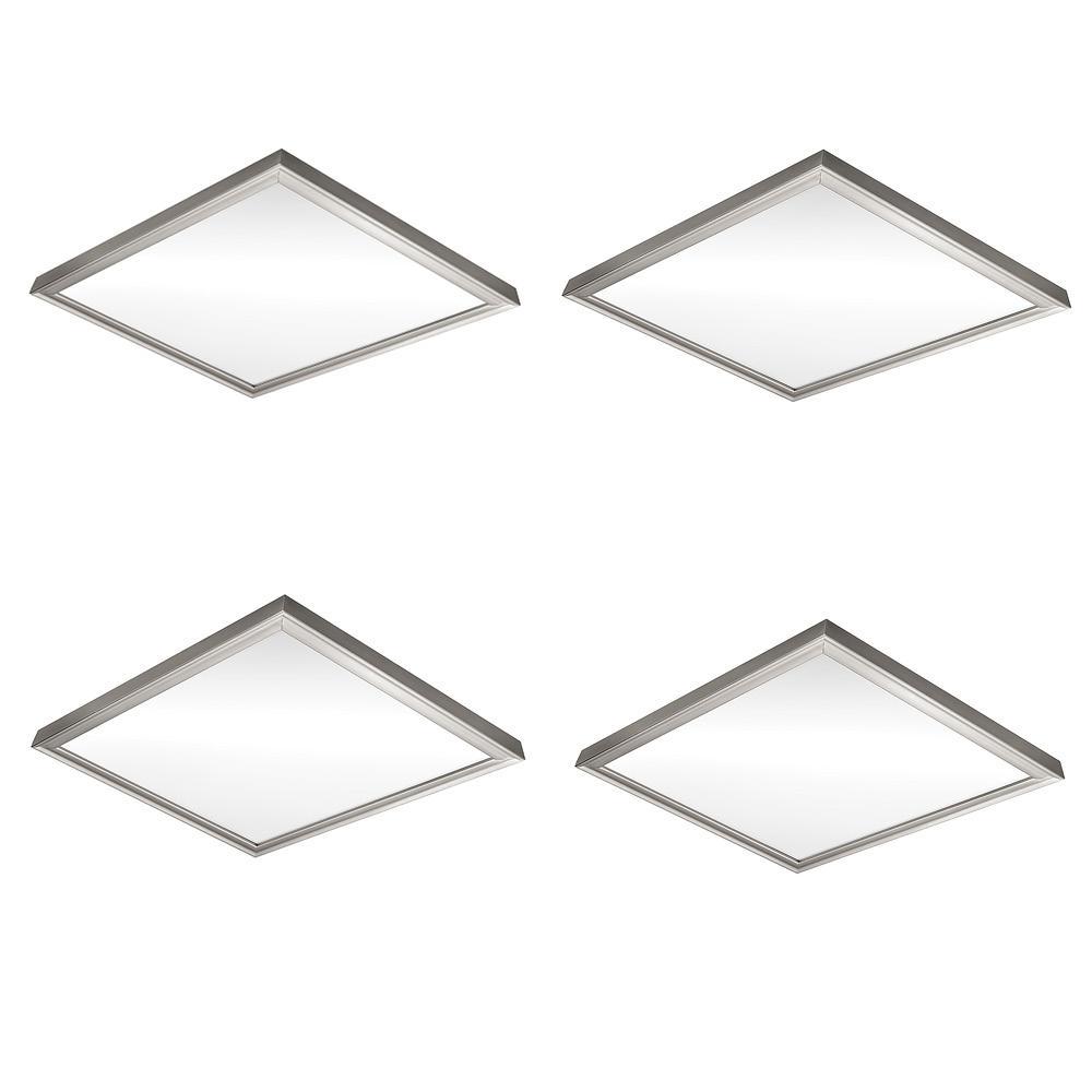 Low Profile 24 in. Square Brushed Nickel LED Flush Mount Ceiling Light 4000 Lumens Dimmable 3000K 4000K 5000K (4-Pack)