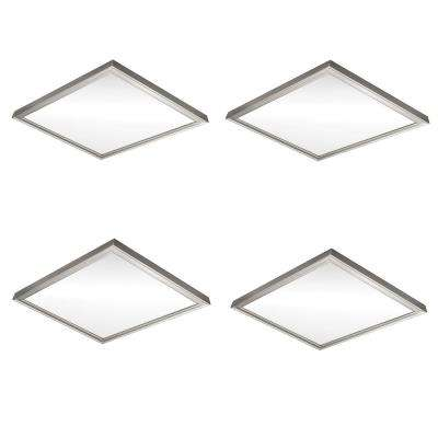 Low Profile 24 in. Square Brushed Nickel LED Flush Mount Ceiling Light 4000 Lumens Dimmable 3000K 4000K 5000K (4-Pack)