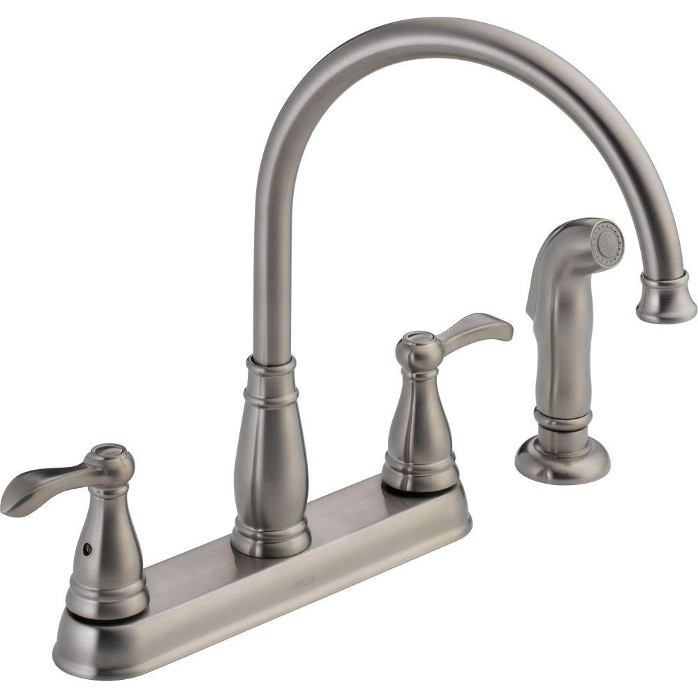 Delta Porter 2-Handle Standard Kitchen Faucet with Side Sprayer in Stainless