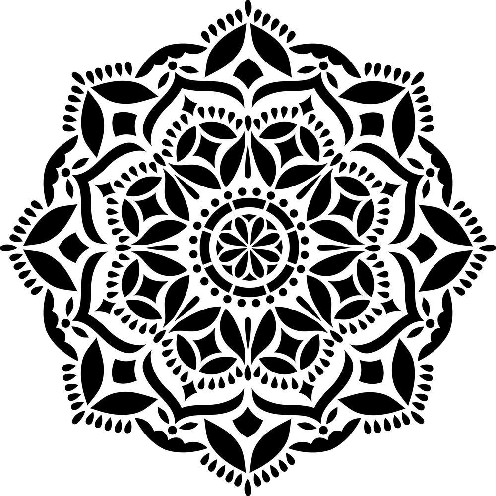 Designer Stencils Karma Mandala Stencil-FS026 - The Home Depot