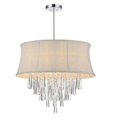 Audrey 8-Light Chrome Chandelier with Off White Shade