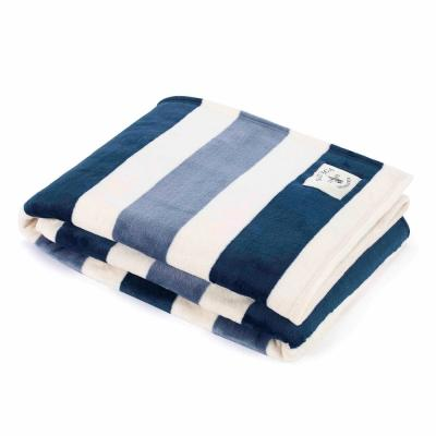 "Awning Stripe Navy Ultra Soft Plush 60in. L"" X 50in. W"" Throw"