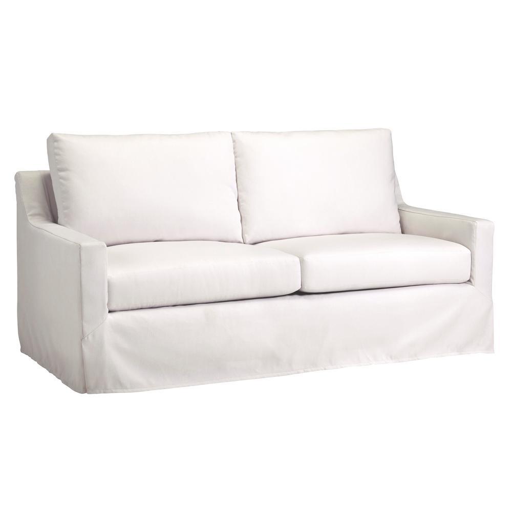 Ivory White Slip Covered Sleeper Sofa