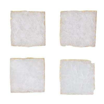 4-Piece White Agate with Gold Foil Trim Coaster Set