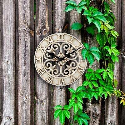 14 in. Antiqued White Cast Iron Indoor/Outdoor Wall Clock