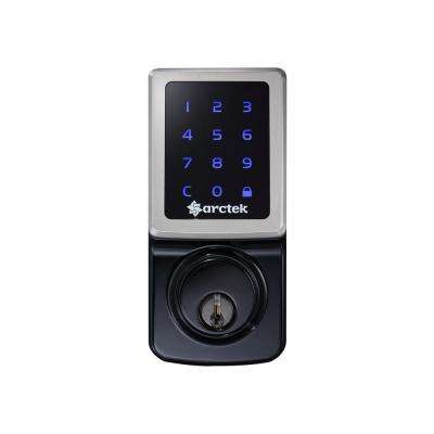 Single Cylinder Black Silver Electronic Touchscreen Deadbolt