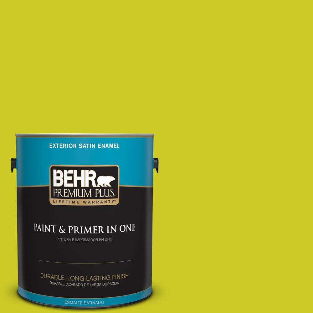 BEHR Premium Plus 1-gal. #S-G-400 Lime Pop Satin Enamel Exterior Paint