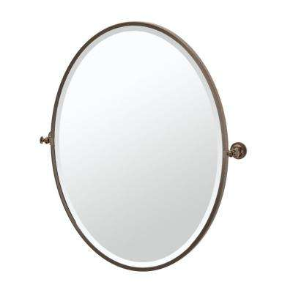 Tavern 29 in. x 33 in. Framed Single Large Oval Mirror in Bronze