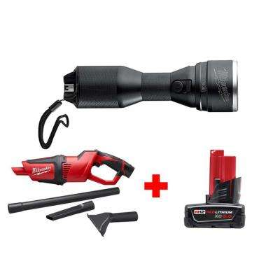 M12 12-Volt Lithium-Ion Cordless LED High Performance Flashlight with M12 Compact Vacuum and 3.0 Ah Battery