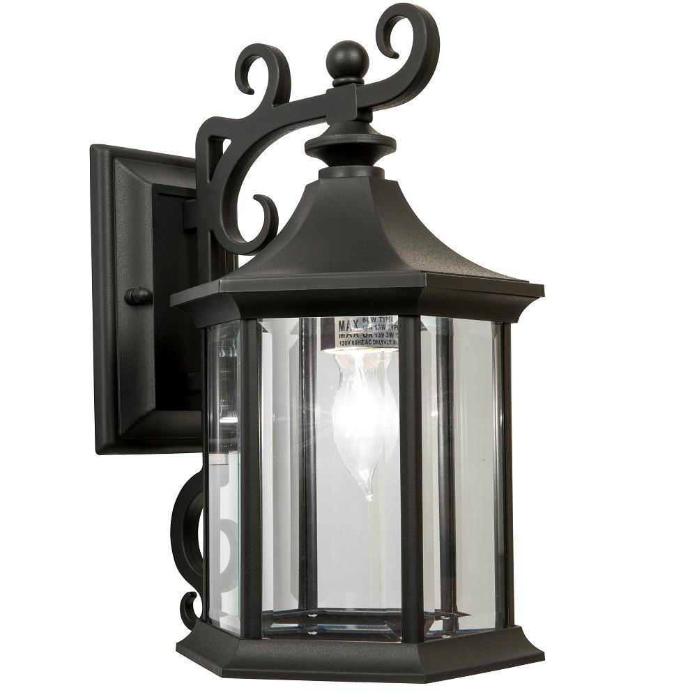 Mansfield 1-Light Black Outdoor Wall Lantern Sconce