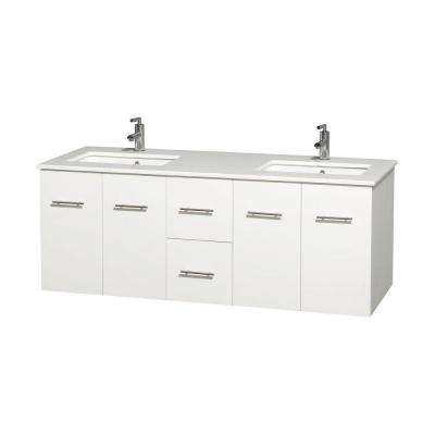 Centra 60 in. Double Vanity in White with Solid-Surface Vanity Top in White and Under-Mount Sinks