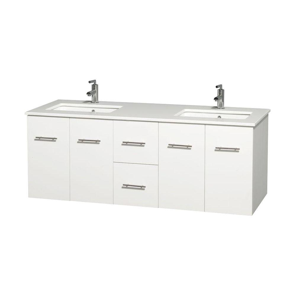 Solid Surface Vanity Tops With Sink : Wyndham collection centra in double vanity white