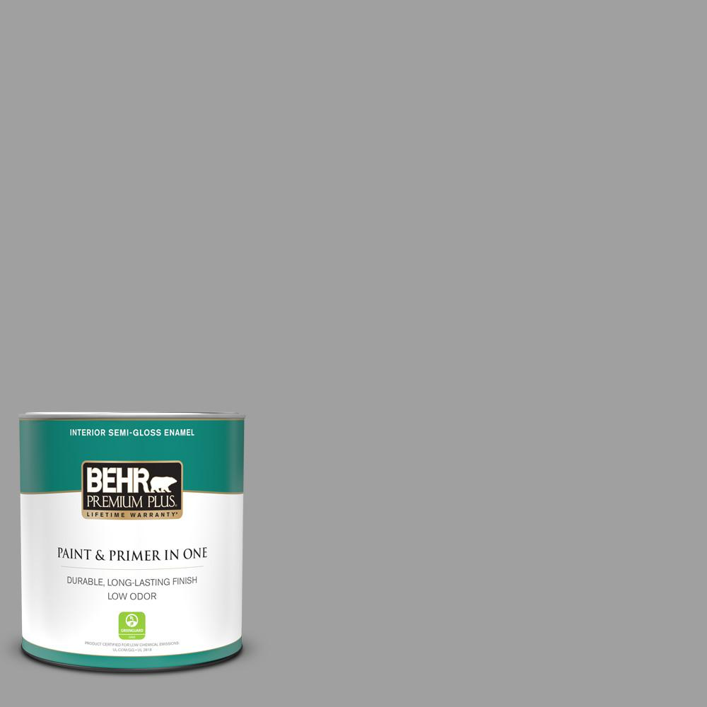 Behr Premium Plus 1 Qt T11 1 Grayve Yard Semi Gloss Enamel Low Odor Interior Paint And Primer In One 340004 The Home Depot