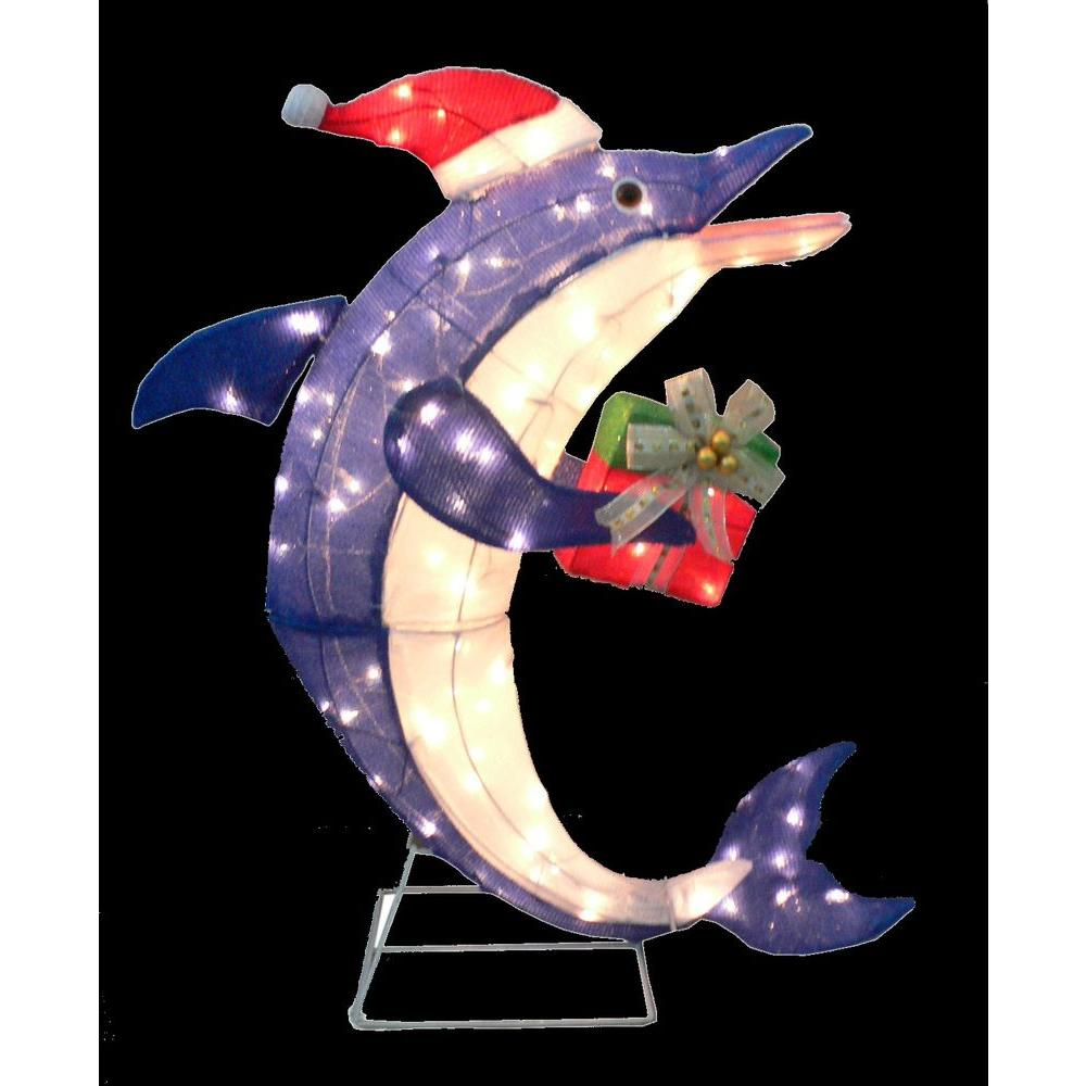 Home accents holiday 36 in pre lit dolphin with gift for Christmas lawn ornaments