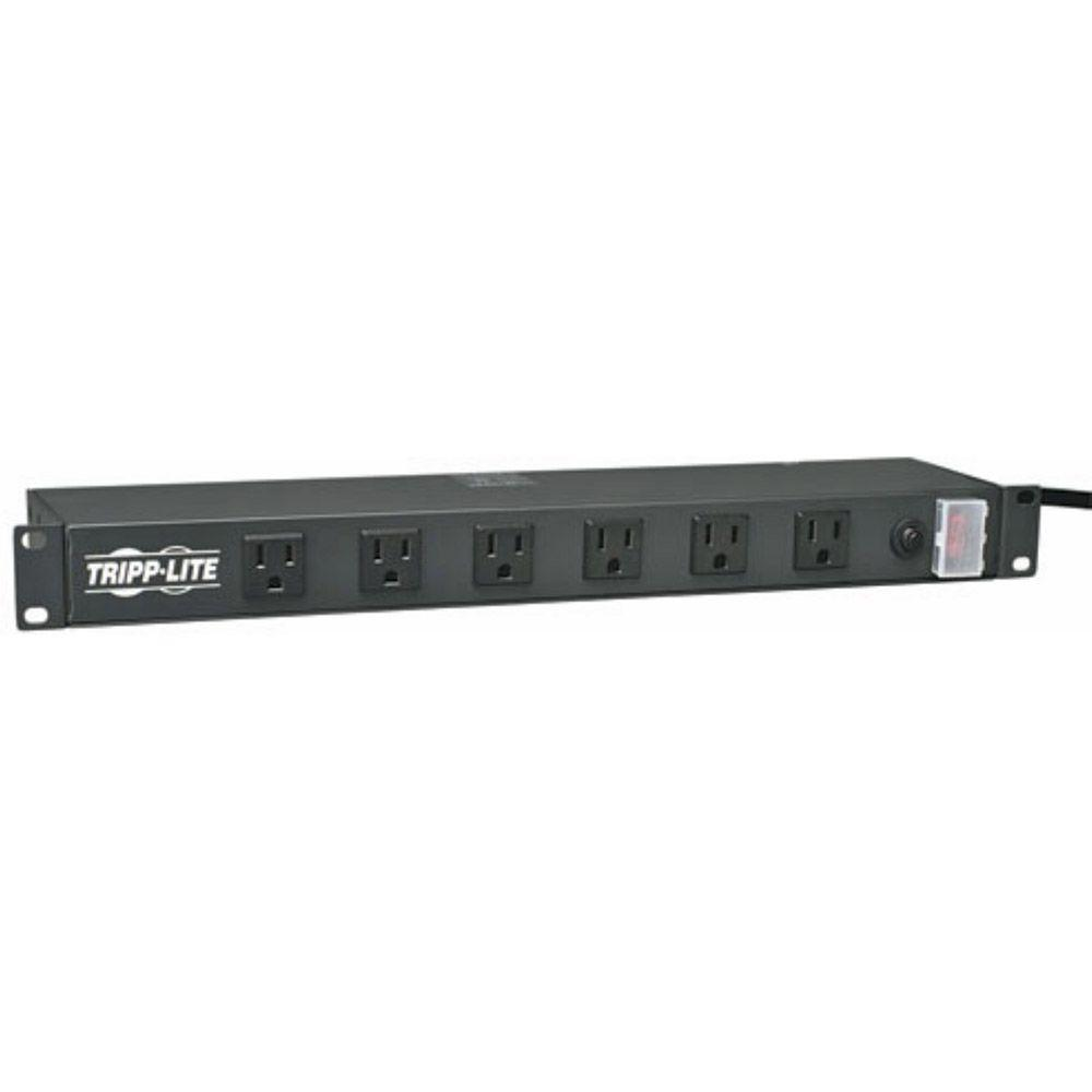Tripp Lite 1U Rackmount Power Strip With 12 Right Angle Outlets And 15 Ft