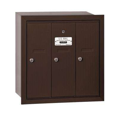 Bronze Recessed-Mounted USPS Access Vertical Mailbox with 3 Door