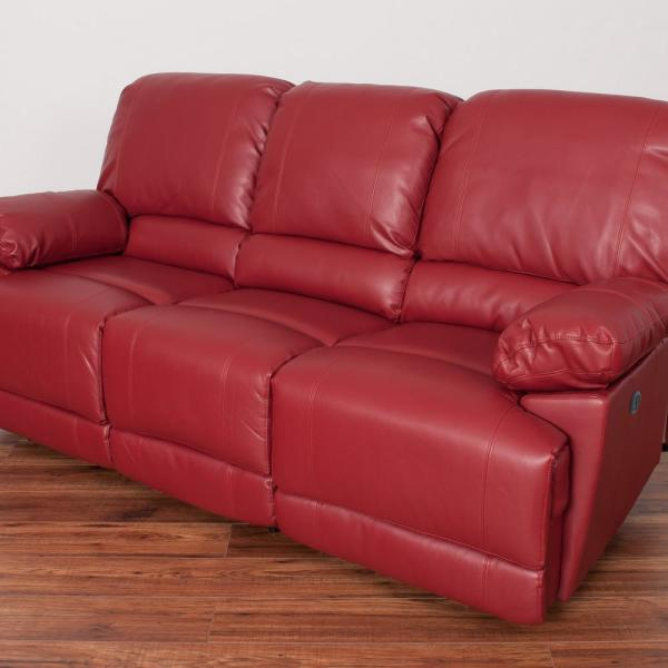 CorLiving Lea Red Bonded Leather Power Reclining Sofa with USB Port ...