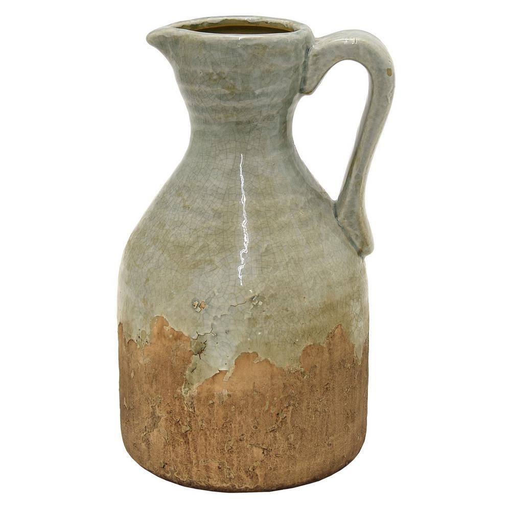 11 in. Green Ceramic Pitcher Vase