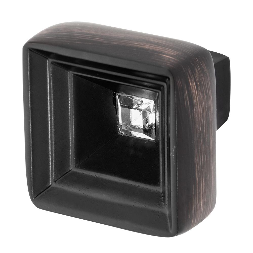Hidden Treasure 1-1/16 in. Oil Rubbed Bronze with Clear Crystal Cabinet