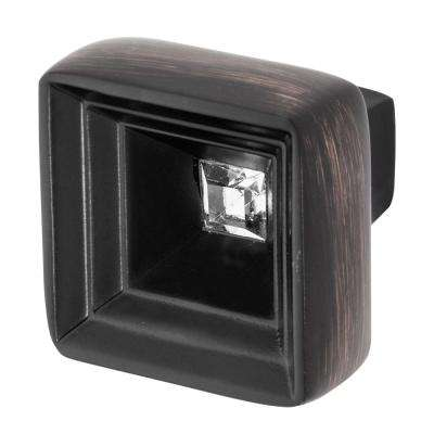 Hidden Treasure 1-1/16 in. Oil Rubbed Bronze with Clear Crystal Cabinet Knob