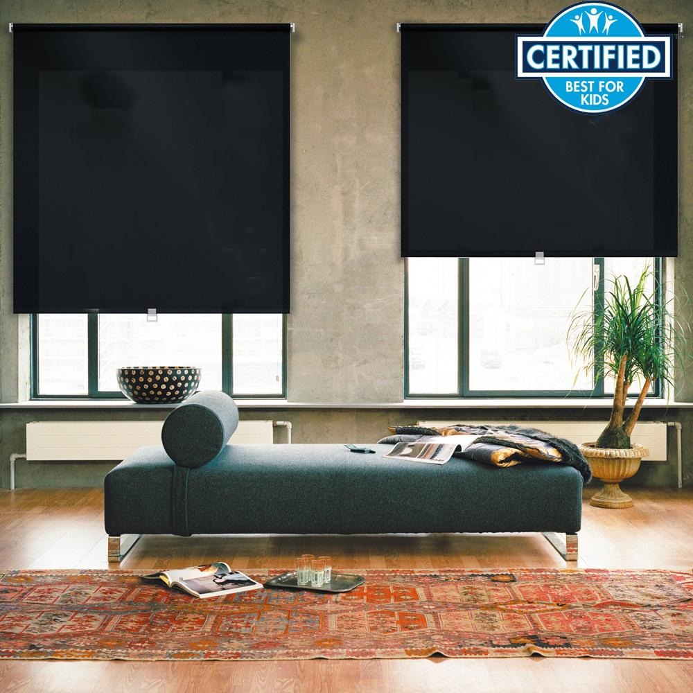 iFit Cut-to-Size 45.5 in. W x 73 in. L Black Cordless Light Filtering Polyester Fabric Roller Shade