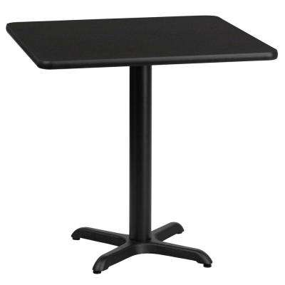 24 in. Square Black Laminate Table Top with 22 in. x 22 in. Table Height Base