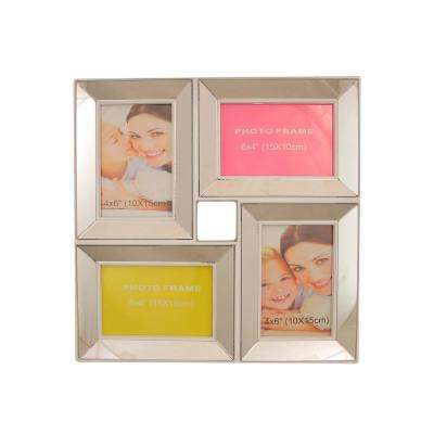 13.75 in. White Trimmed Glass Encased Photo Picture Frame Collage Wall Decoration