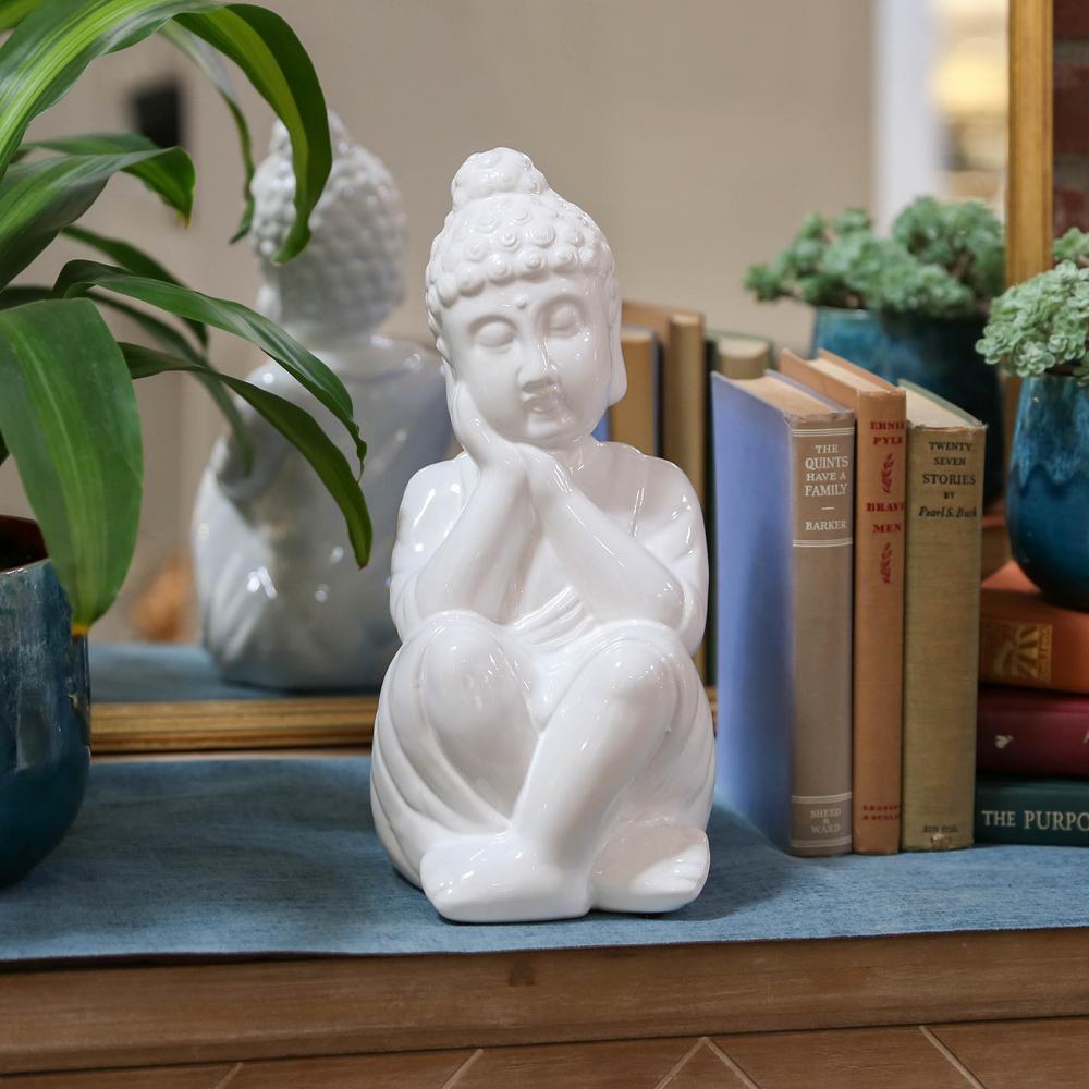 13 in. H Buddha Decorative Figurine in White Gloss Finish