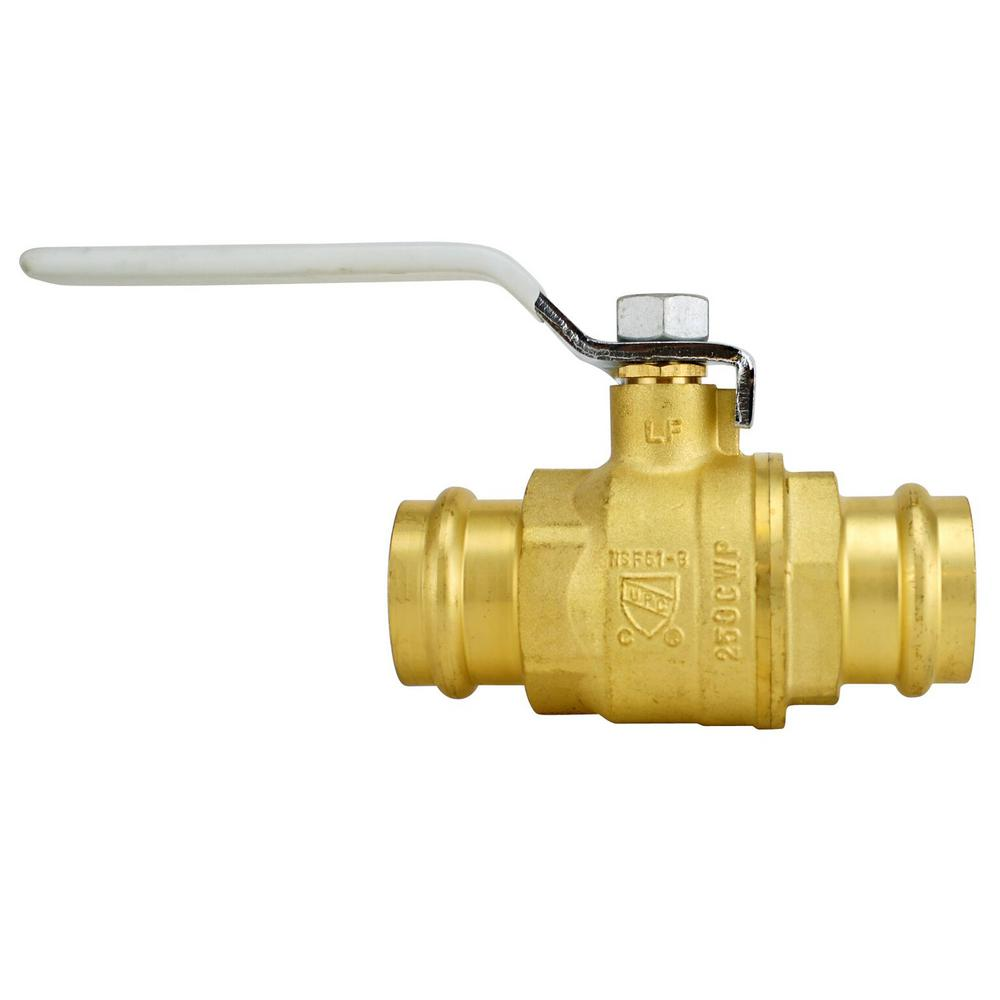 1-1/4 in. Brass Press x Press Full Port Ball Valve