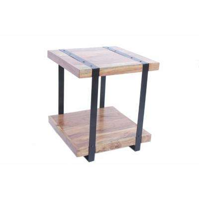 Brown Contemporary Style Iron and Wood Side Table
