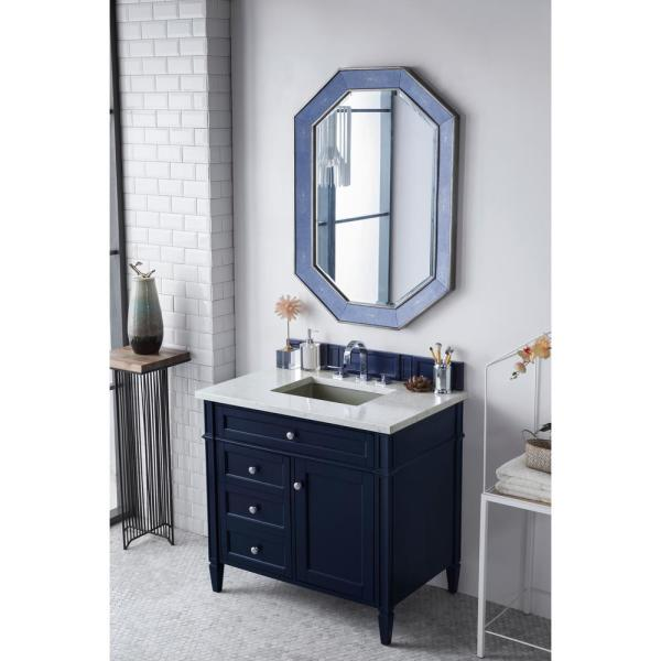 James Martin Vanities Brittany 30 In W Single Bath Vanity In Victory Blue With Quartz Vanity Top In Eternal Jasmine Pearl With White Basin 650 V30 Vbl 3ejp The Home Depot